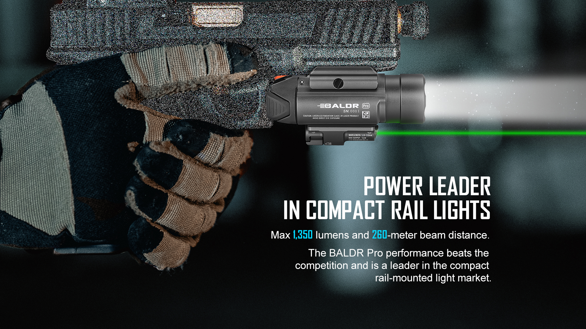 Olight Baldr Pro Green Laser Tactical Light Super Bright
