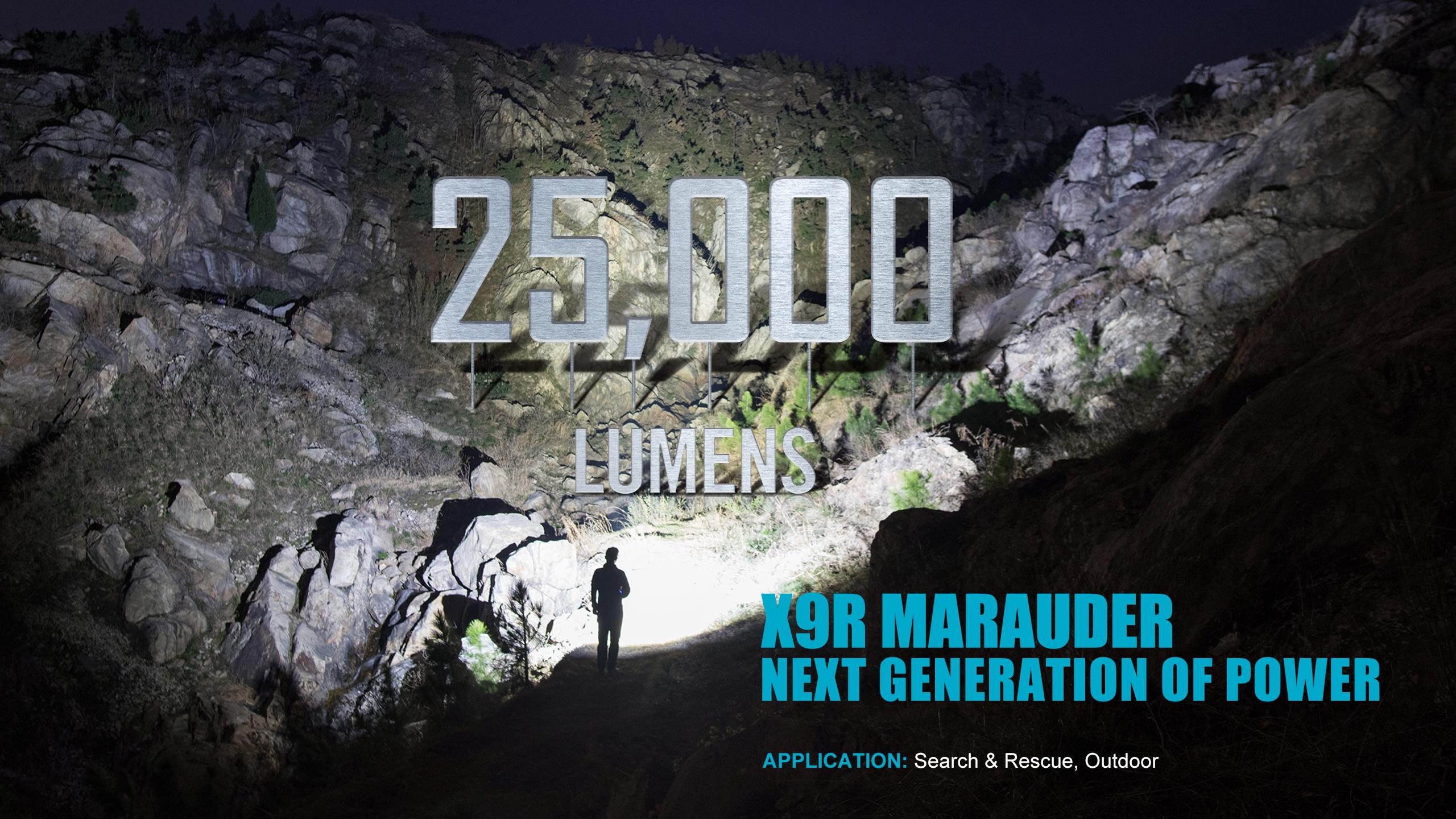 X9R Brightest Flashlight 25000 lumens