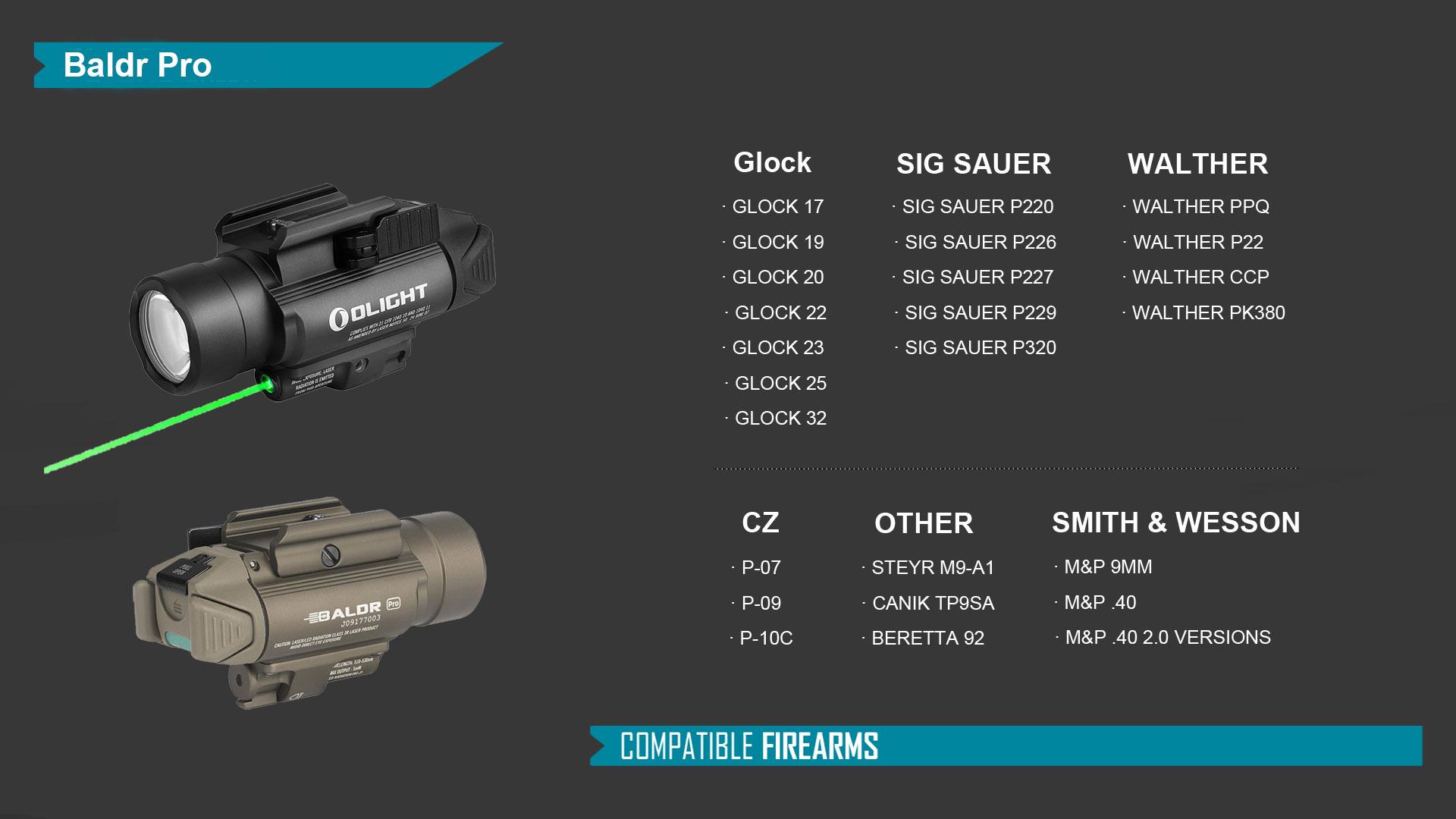 Baldr Pro tactical light green laser