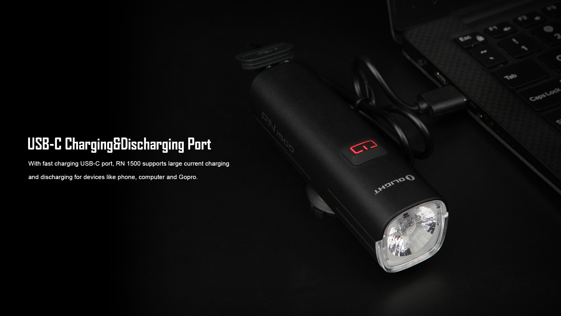 RN1500 Bike Headlight USB-C Charging