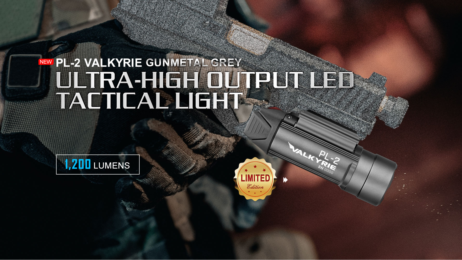 PL-2 Valkyrie Small Tactical Flashlight 1200 Lumens