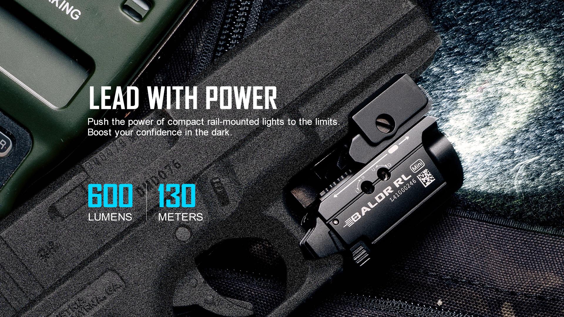 Baldr RL Mini Tactical Laser Flashlight lead with power