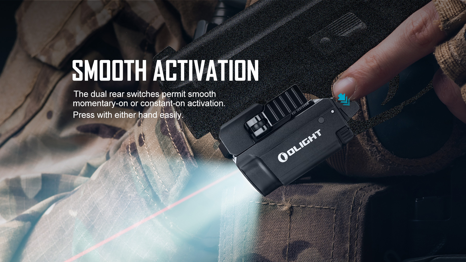 Tactical Laser Flashlight Smooth Activation