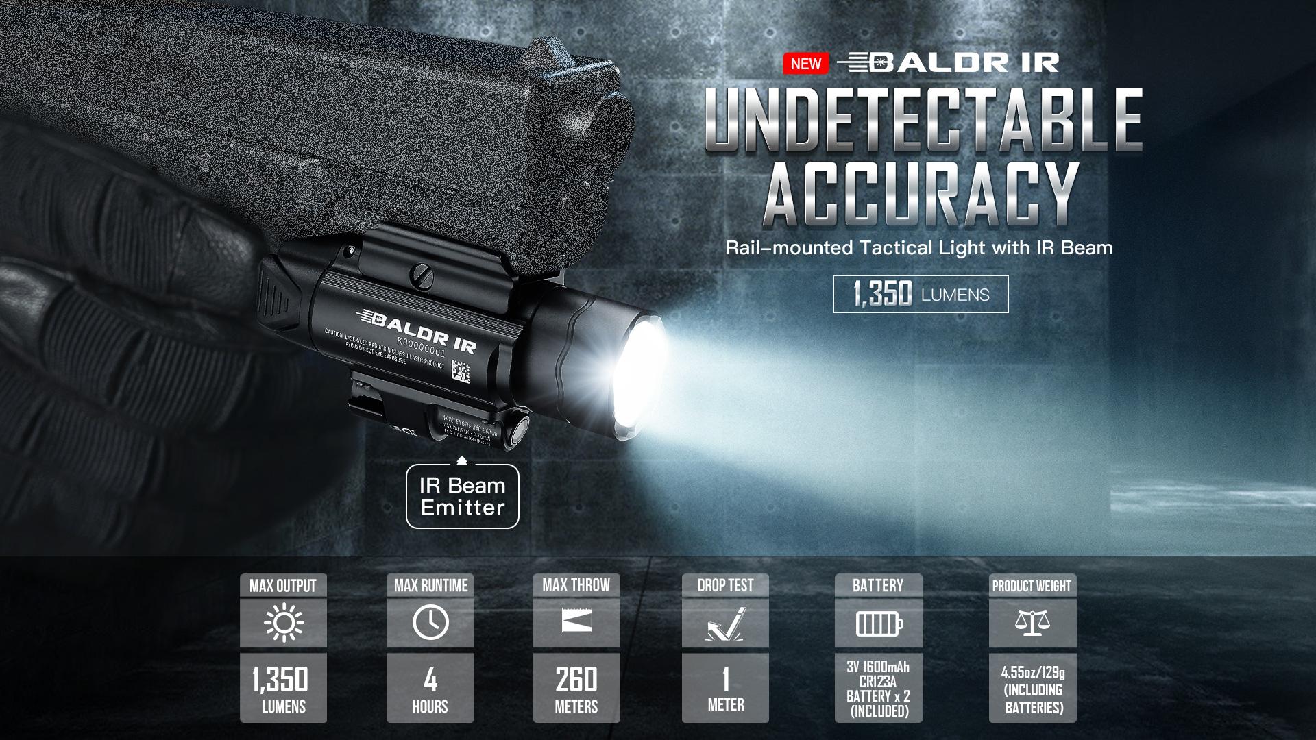Olight Baldr IR Rail Mount Tactical Light 1350 Lumens