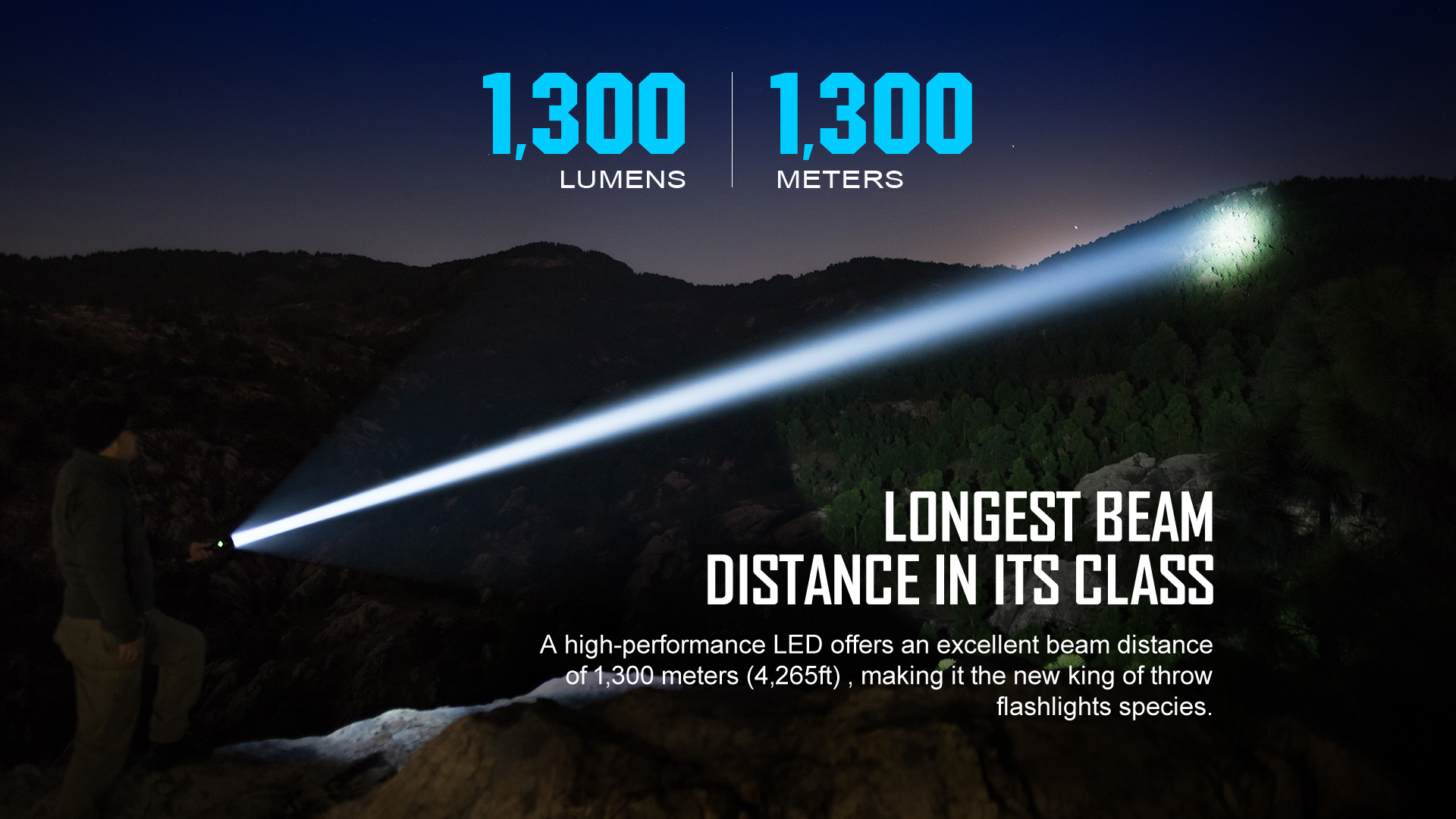 Olight Javelot Turbo Long Distance Flashlight 1300 Lumens