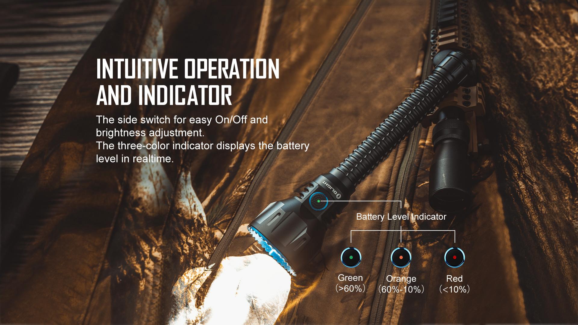 Olight Javelot Turbo Long Distance Flashlight Indicatior