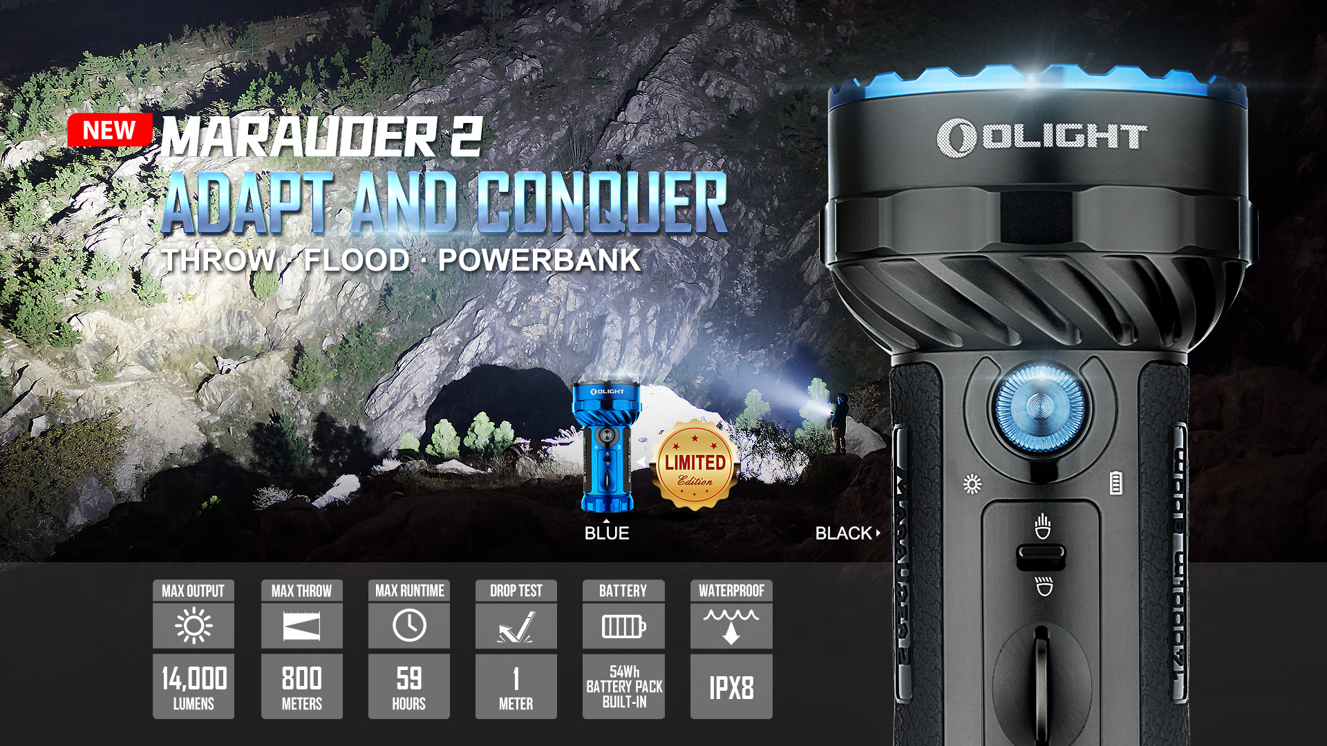Olight Marauder 2 Most Powerful Flashlight Adapt and Conquer