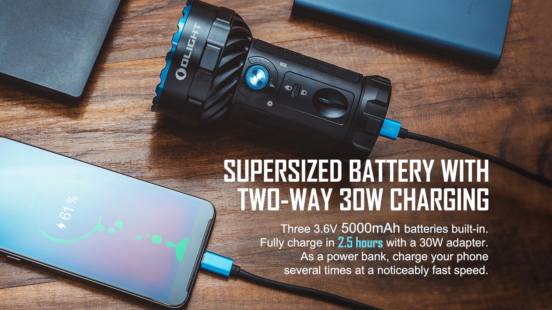 Olight Marauder 2 Most Powerful Flashlight Supersized Battery with 2 way Charging
