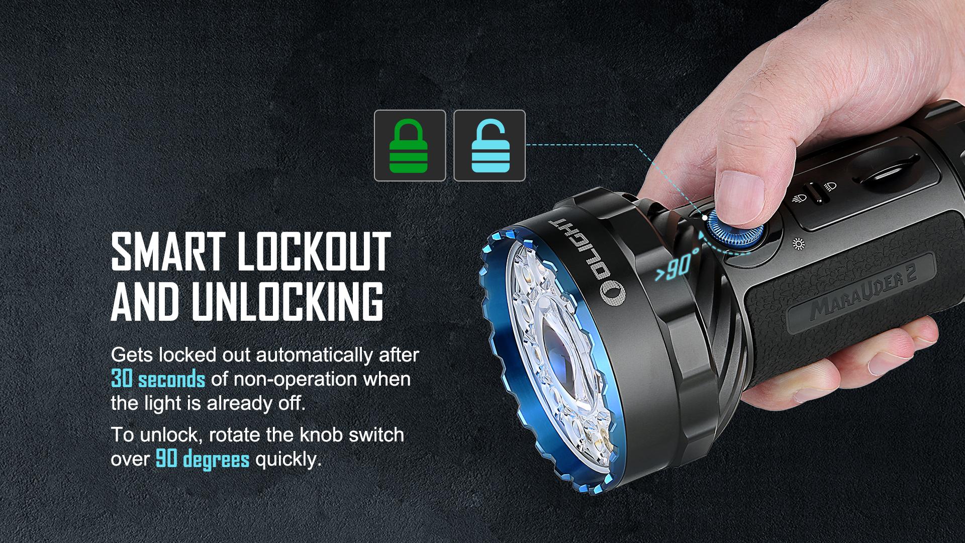 Olight Marauder 2 Most Powerful Flashlight Smart Lockout & Unlocking