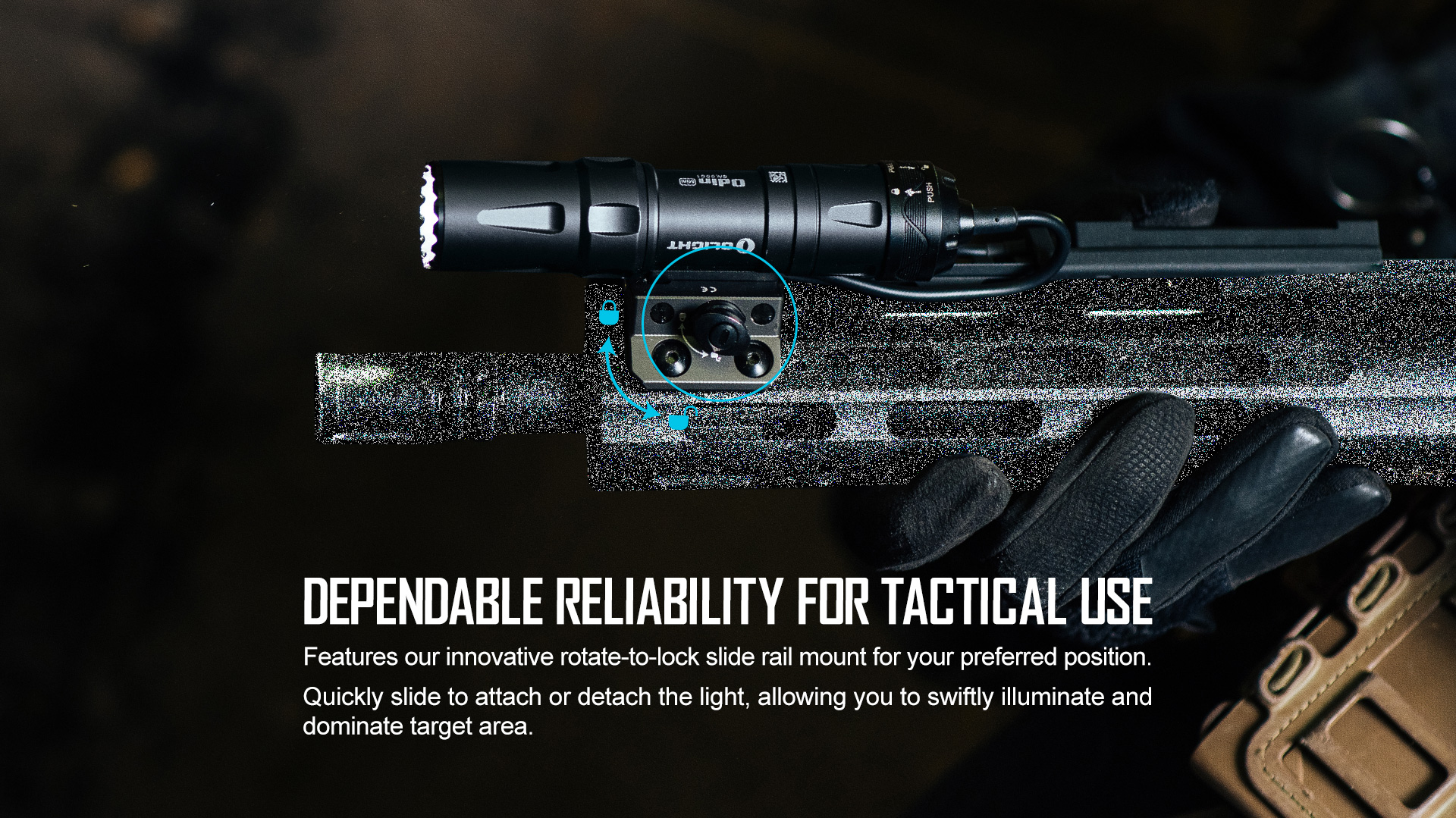 Olight Odin Mini Small Tactical Flashlight Free Adapter