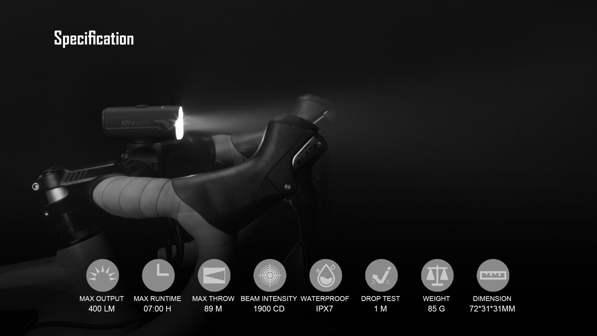 Olight RN 400 Bike LED Light Headlight Specification