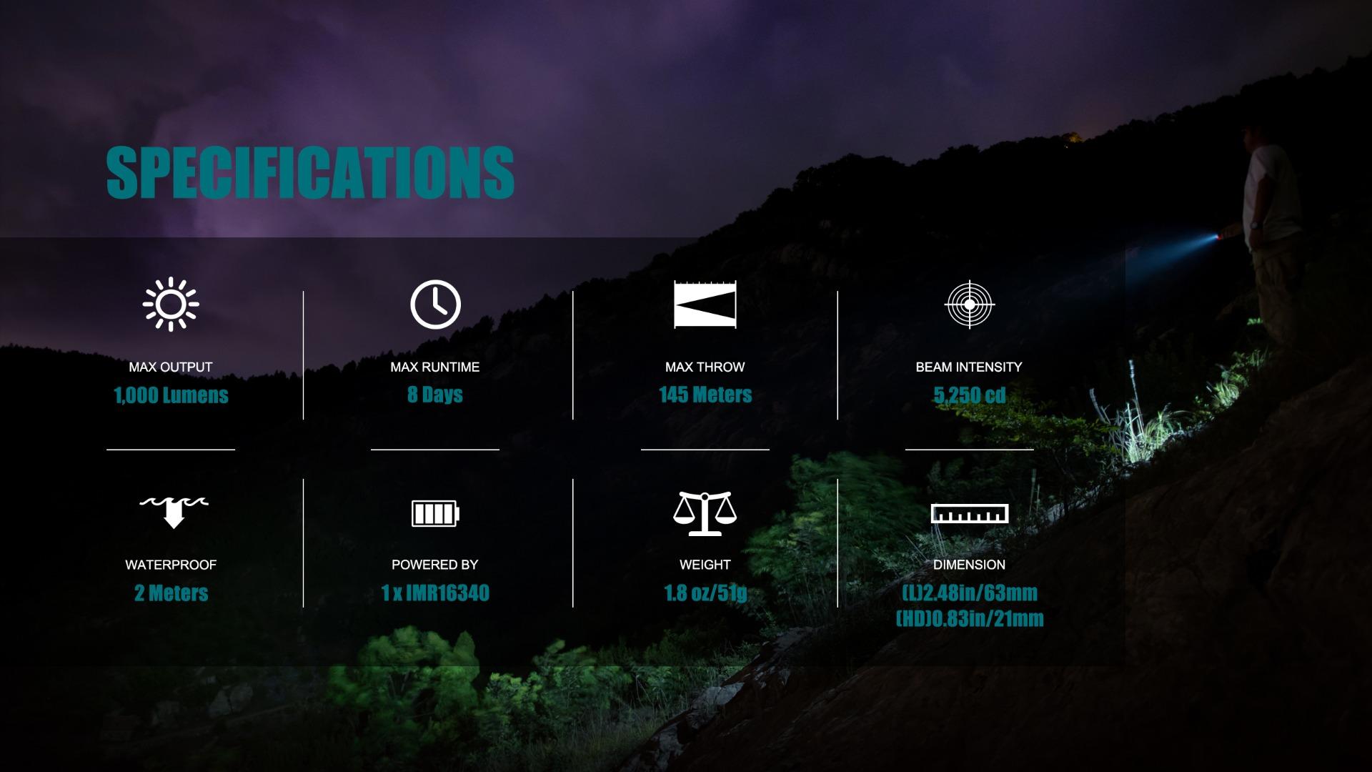 S1R Baton II  EDC Flashlight Specifications