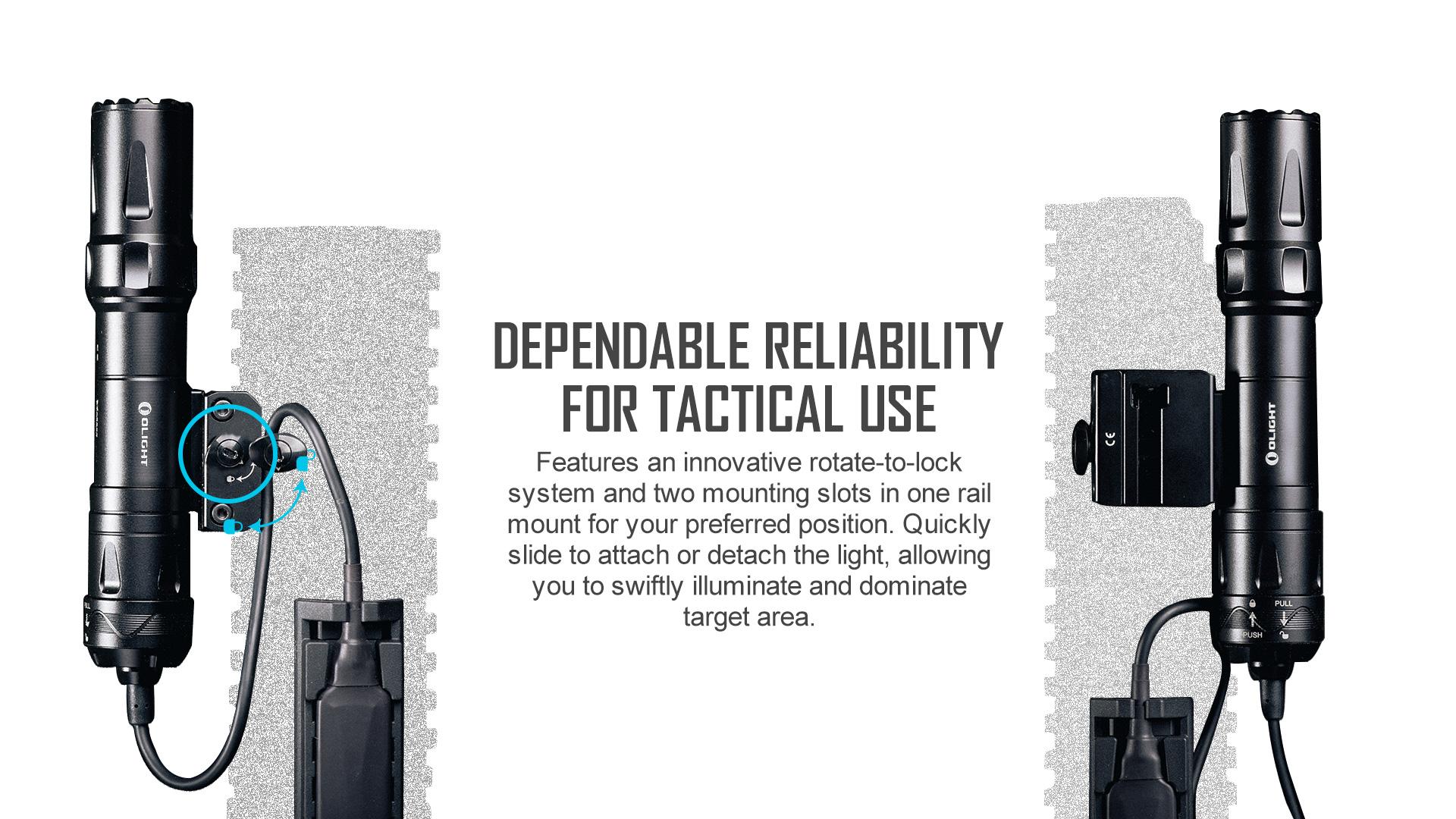 Odin Military Flashlight Reliable slide rail mount