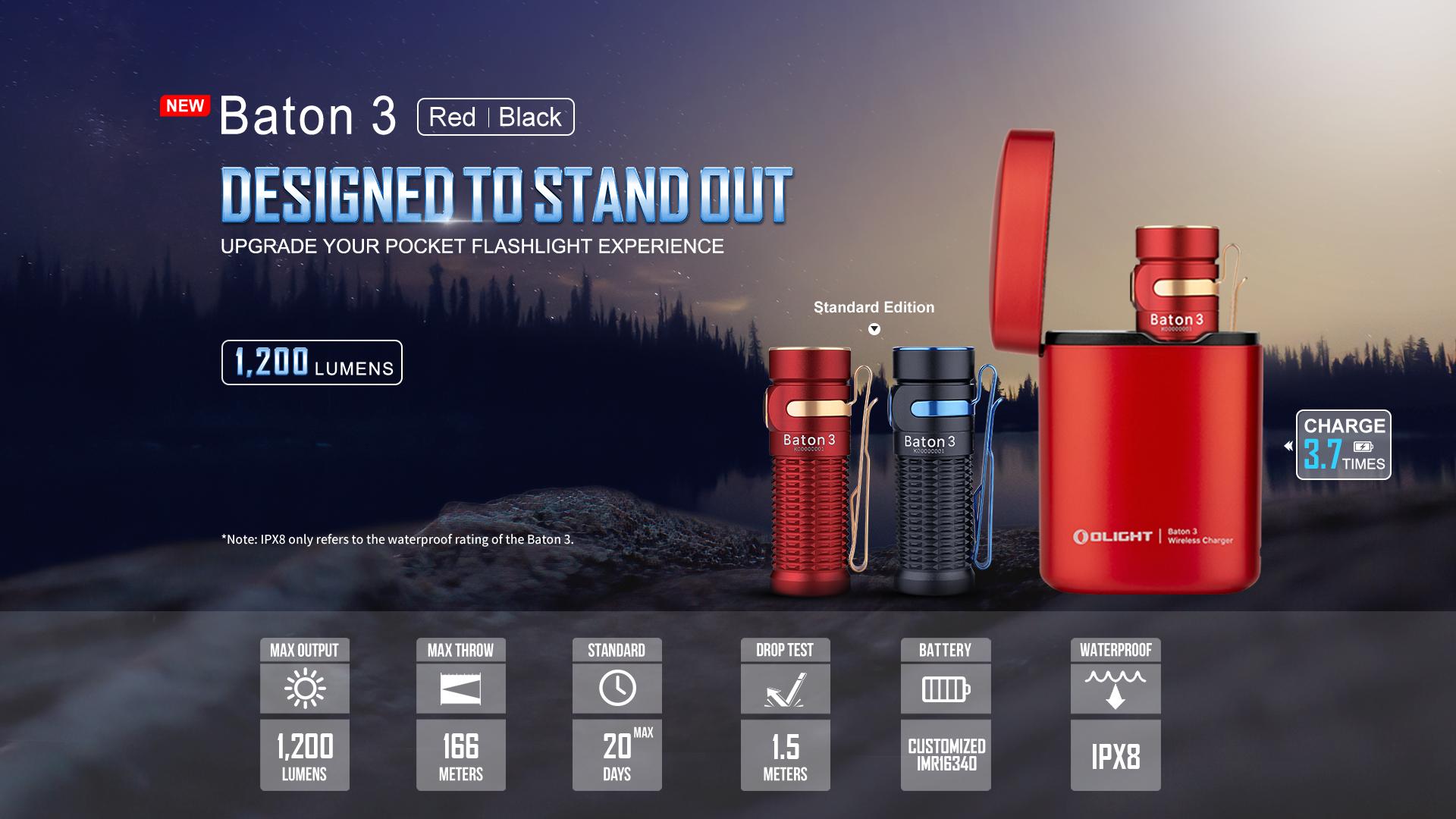 Olight Baton 3 Rechargeable LED Flashlight