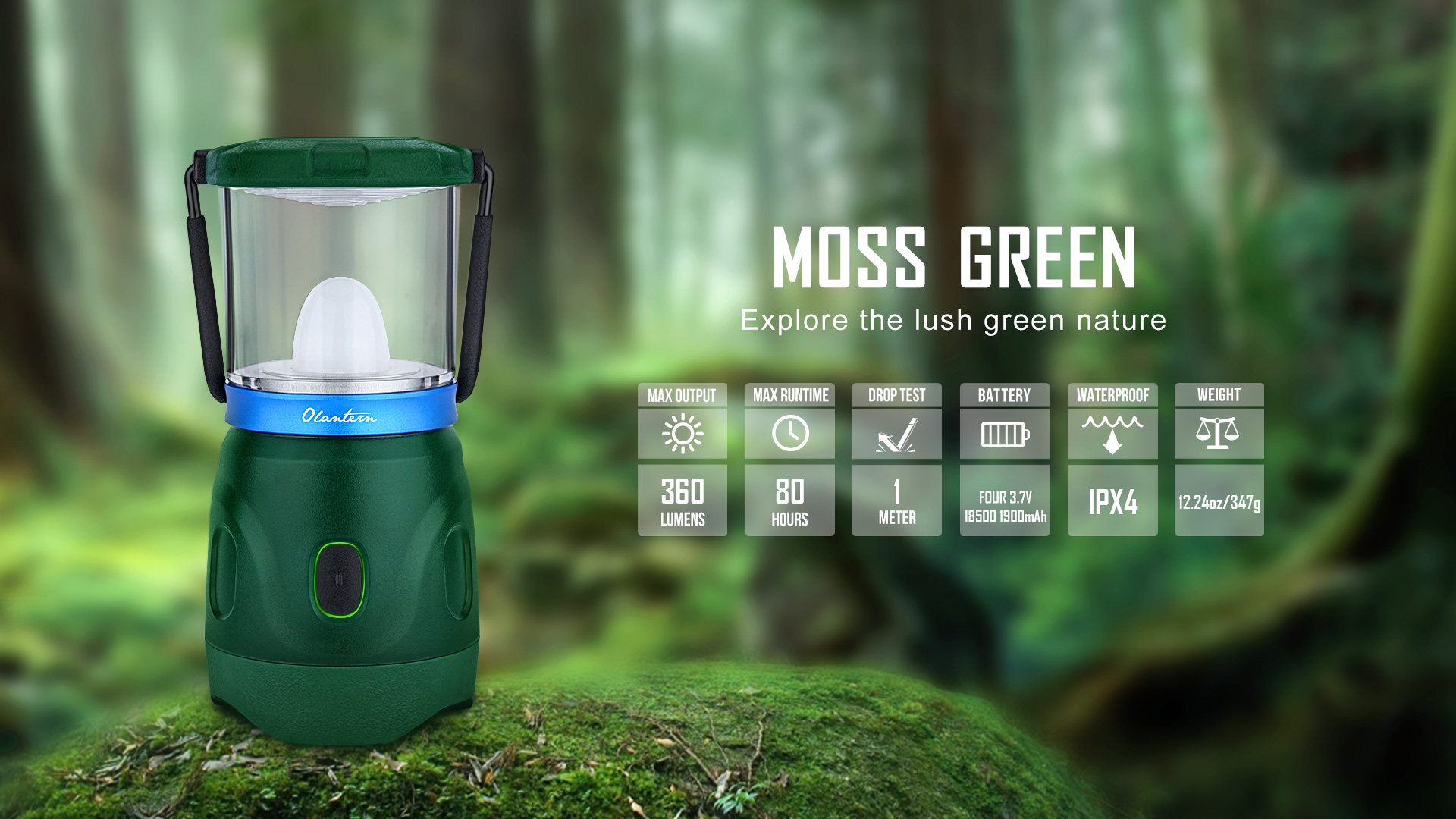 Olantern Rechargeable Camping Lights Moss Green