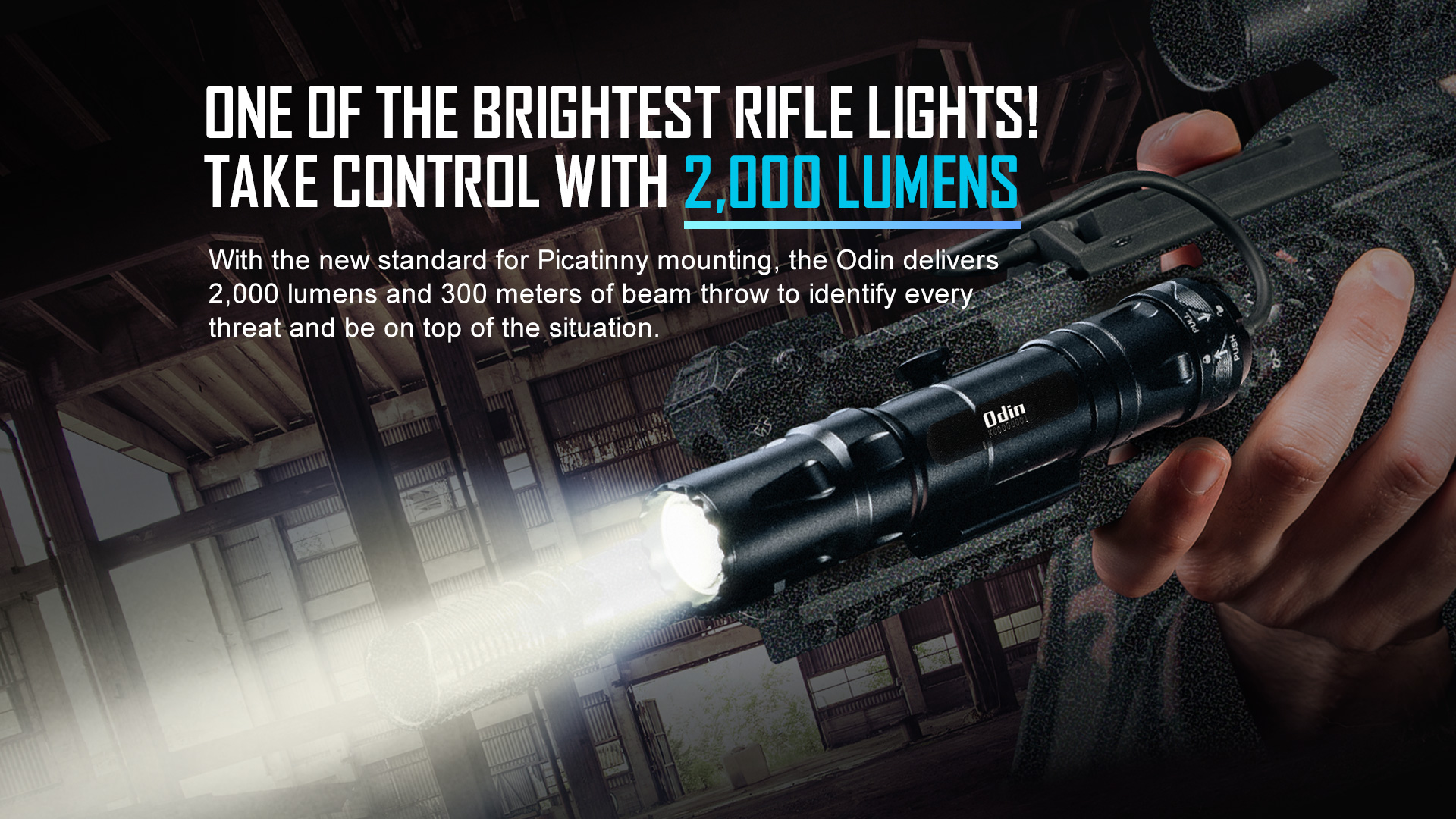 Odin Military Flashlight MAX 2,000 lumens and 300 meters